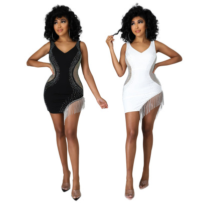 Women's V-neck Backless Hot Rhinestone Package Hip Short Dress Nihaostyles Wholesale Clothing NSCYF80452