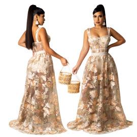 Women's Sling Net Skirt Two-piece Nihaostyles Wholesale Clothing NSCYF80453