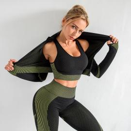Women's Yoga Clothing Bra And Leggings And Coat Three-piece Set Nihaostyles Wholesale Clothing NSXER80458
