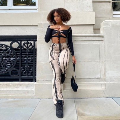Women's Printed  Wide-leg High-waist Pants Nihaostyles Wholesale Clothing NSJYF80469