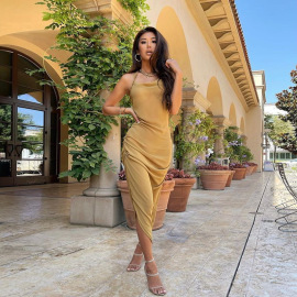 Women's Halterneck Backless Sling Dress Nihaostyles Wholesale Clothing NSJYF80470