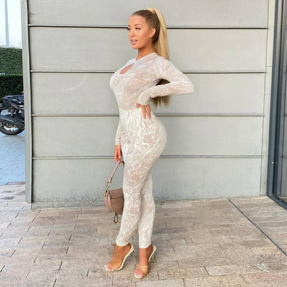 Women's Printed Hollow Backless Slim Jumpsuit Nihaostyles Wholesale Clothing NSJYF80471
