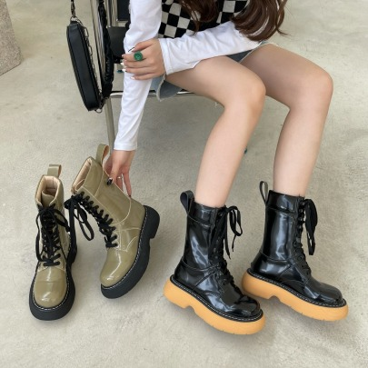 Women's Lace-up Short Martin Boots Nihaostyles Wholesale Clothing NSCA80483