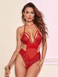 Women's Lace One-piece Three-point Lace Sexy Lingerie Suit Nihaostyles Wholesale Clothing NSFQQ80490