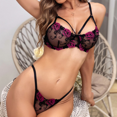 Net Yarn Lace Perspective Underwear Two-piece Set Nihaostyles Wholesale Clothing NSRBL80494