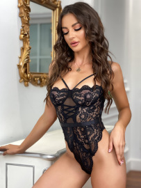 Women's Intimate Lace See-through Sexy Lingerie One-piece Suit Nihaostyles Wholesale Clothing NSRBL80495