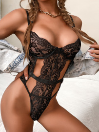 Lace Stitching Hollow Sexy Lingerie One-piece Nihaostyles Wholesale Clothing NSRBL80498