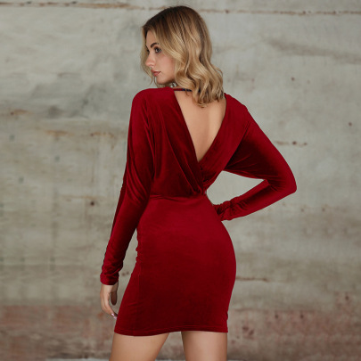 Women's V-neck Package Hip Backless Dress Nihaostyles Wholesale Clothing NSWX80505