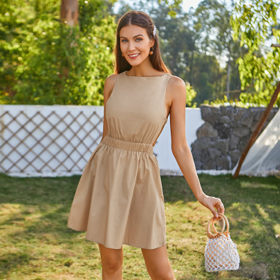 Solid Color Stretch Backless Dress Nihaostyles Wholesale Clothing NSWX80507