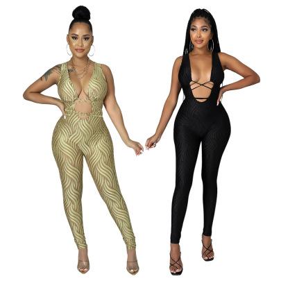 Women's Printing  Hollow Slimming Jumpsuit Nihaostyles Wholesale Clothing NSCYF80509