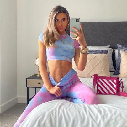 Women's Short-sleeved Top And Leggings Two-piece Yoga Suit NSJYF80521