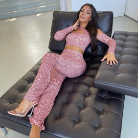 Women's Printed  Off-shoulder Top And Straight Pants Two-piece Set Nihaostyles Wholesale Clothing NSJYF80522