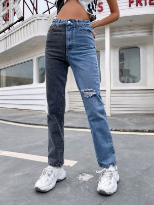Women's High-waist Wide-leg Holed Straight Jeans Nihaostyles Wholesale Clothing NSJM80537
