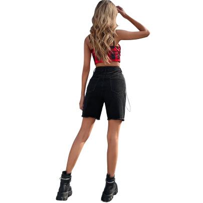 Summer Women's High Waist Straight Ripped Denim Shorts  Nihaostyles Wholesale Clothing NSJM80538