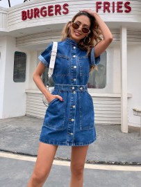 Summer Women's Denim Button Dress Nihaostyles Wholesale Clothing NSJM80542