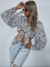 Women's Leopard Print Bow-knot Exposed Navel Short Top Nihaostyles Wholesale Clothing NSJM80544