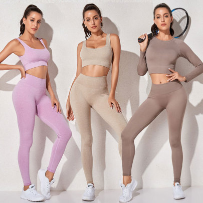 Women's Sports Vest And Long Sleeve Top And Tight-fitting Leggings Yoga Three-piece Suit Nihaostyles Wholesale Clothing NSXER80563