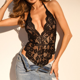 See-through Lace Sexy Lingerie One-piece Nihaostyles Wholesale Clothing NSRBL80574