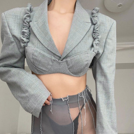 Women's Shoulder Pads V Neck Hollow Suit And Sling Two-piece Nihaostyles Wholesale Clothing NSXE80575