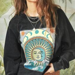Round Neck Printed Sweatershirt  Nihaostyles Wholesale Clothing NSXE80580