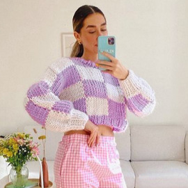 Autumn Check Color Contrast Pullover Blouse Knitted Sweater Nihaostyles Wholesale Clothing NSXE80584