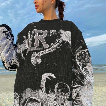 Round Neck Abstract Digital Printing Sweatershirt Nihaostyles Wholesale Clothing NSXE80586