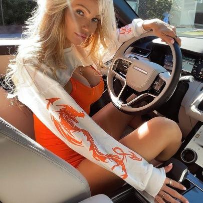 Women's Stackable Sleeve Printing Half-cut Short Top Nihaostyles Wholesale Clothing NSXE80588