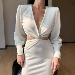 autumn V-neck slimming X-shaped dress suit nihaostyles wholesale clothing NSXE80604