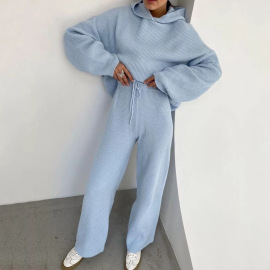 Autumn Women's Hooded Pure Color Loose Sweater Straight Wide-leg Pants Suit Nihaostyles Wholesale Clothing NSXE80606