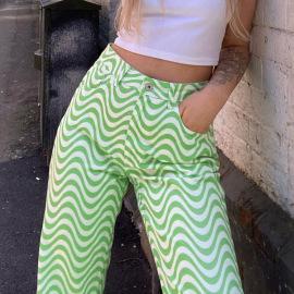 Summer Wave Pattern Printing High-waist Straight Pants Nihaostyles Wholesale Clothing NSXE80607