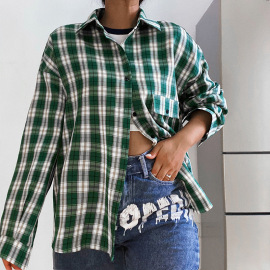 Autumn Lapel Single-breasted Retro Plaid Loose Shirt Nihaostyles Wholesale Clothing NSXE80616