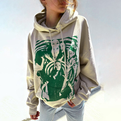 Face Printed Hooded Sweatershirt With Pockets Nihaostyles Wholesale Clothing NSXE80617