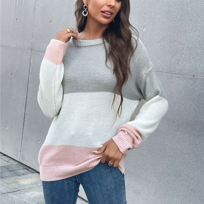 Autumn Women's Color Matching Round Neck Bat Sleeve Knitted Sweater Nihaostyles Wholesale Clothing NSDMB80621