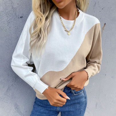 Autumn Women's Color Matching Round Neck Pullover Knitted Sweater Nihaostyles Wholesale Clothing NSDMB80623