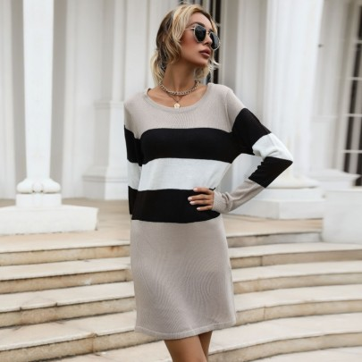 Autumn And Winter Women's Round Neck Slimming Striped Knitted Sweater Dress Nihaostyles Wholesale Clothing NSDMB80626