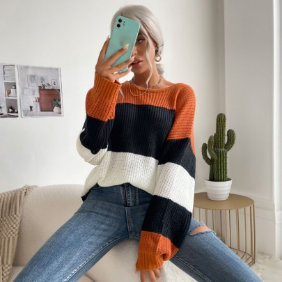 Autumn Women's Contrast Color Round Neck Knitted Pullover Sweater Nihaostyles Wholesale Clothing NSDMB80624