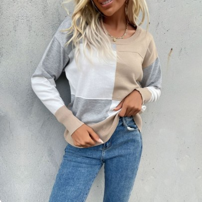 Autumn And Winter Round Neck Stitching Knitted Sweater Nihaostyles Wholesale Clothing NSDMB80625
