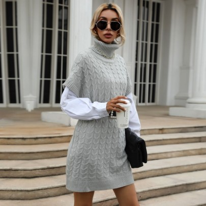 Autumn Knitted Turtleneck Sweater Dress Nihaostyles Wholesale Clothing NSDMB80627