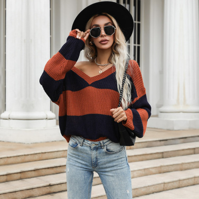 Spring And Autumn Women's V-neck Knitting Stripes Pullover Sweater Nihaostyles Wholesale Clothing NSDMB80628