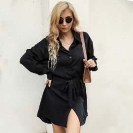 Spring And Autumn Women's Lapel Belted Shirt Dress Nihaostyles Wholesale Clothing NSDMB80629