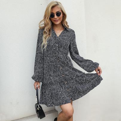 Autumn Printing Lapel Button Shirt Dress Nihaostyles Wholesale Clothing NSDMB80630