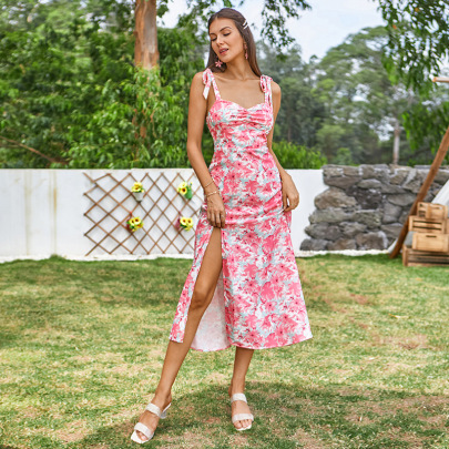 Women's High-waisted Backless Sling Floral Dress Nihaostyles Wholesale Clothing NSWX80633