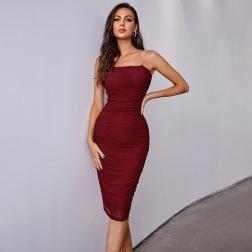 women's tube top metal sling dress elegant prom dress nihaostyles wholesale clothing NSWX80634