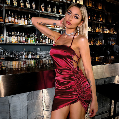 Summer Folds Halterneck Backless Package Hip Dress Nihaostyles Wholesale Clothing NSWX80638
