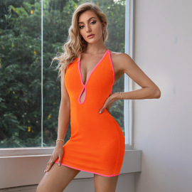 Halterneck Sleeveless Hollow Backless Package Hip Short Dress Nihaostyles Wholesale Clothing NSWX80642