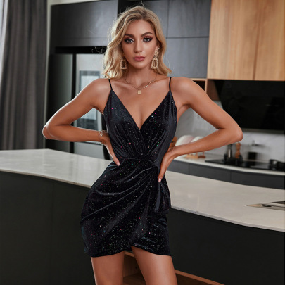 Women's V-neck Irregular Pleated Package Hip Black Sequin Sling Dress Nihaostyles Wholesale Clothing NSWX80646