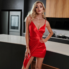 Women's Red Folds Irregular Package Hip Slim Sling Dress Nihaostyles Wholesale Clothing NSWX80647