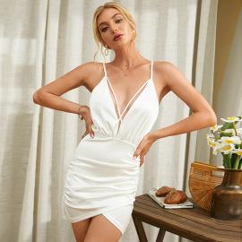 Women's V-neck Sling High Waist Package Hip Irregular Dress Nihaostyles Wholesale Clothing NSWX80648