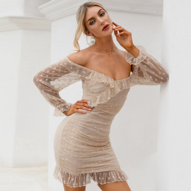 Women's Net Yarn V-neck Off-shoulder Ruffled Sexy Perspective Dress Nihaostyles Wholesale Clothing NSWX80649