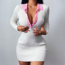 Autumn Women's Polo Neck Simple Package Hip sweater Dress nihaostyles wholesale clothing NSFLY80652